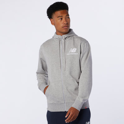 New Balance - Men Essentials Stacked Full Zip Hoodie Grey