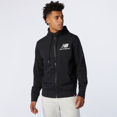 New Balance - Sweat à capuche zippé Empilé Essentials Homme Noir