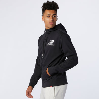 New Balance - Men Essentials Stacked Full Zip Hoodie Black