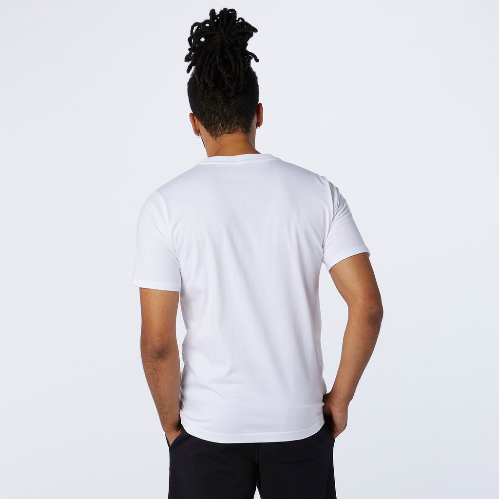 New Balance - T-shirt à logo empilé Coupe décontractée Homme Essentials Blanc