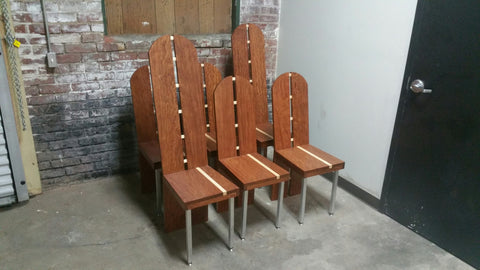 Bubinga and curly maple chairs