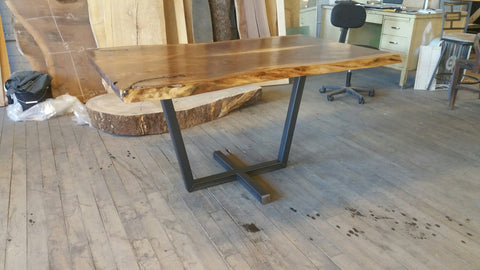 Walnut Dining Table with Steel Pedestal Base