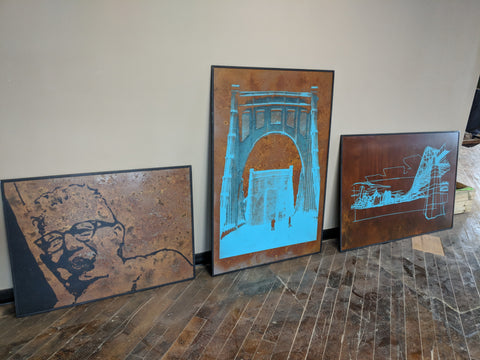Large Format Silkscreen on Rusted Corten Steel