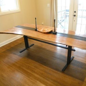 Sycamore and Steel Dining Table