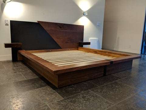 Contemporary Walnut and Steel Platform Bed