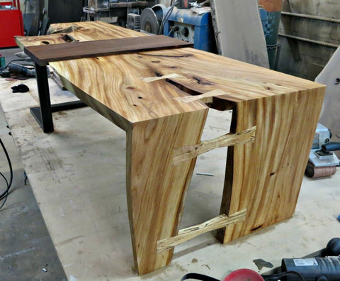 Elm and Steel Coffee Table
