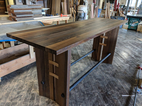 Fumed Eucalyptus Bar Height Table
