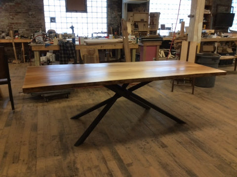 Single Slab Sycamore Dining Table with Crossover Base
