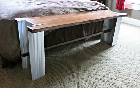 Walnut and Aluminum Bench