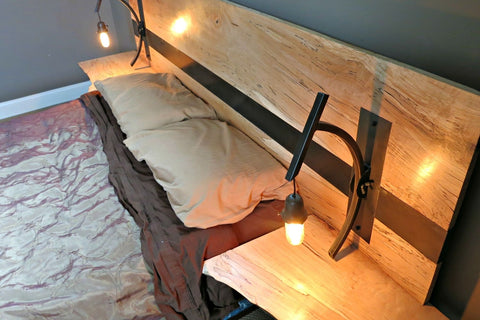 Spalted Maple and Steel Headboard with Handmade Lights