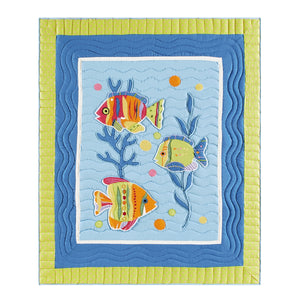 Island Style Quilted Throw - Embellished Fish