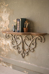 Hand Carved Wood Wall Shelf with Metal Filligree