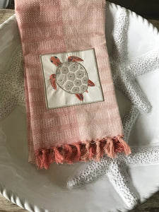 Fringed Turtle Embroidered Kitchen Towel