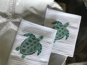 Turtle Blues Embroidered Kitchen Towels