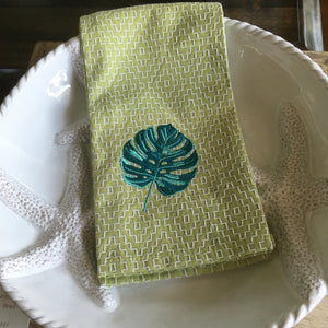 Monstera Palm Embroidered Kitchen Towel