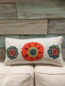 Colorful Embroidered Medallion Lumbar Pillow