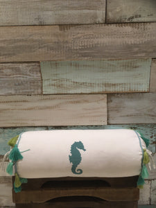 Embroidered Seahorse Bolster Pillow