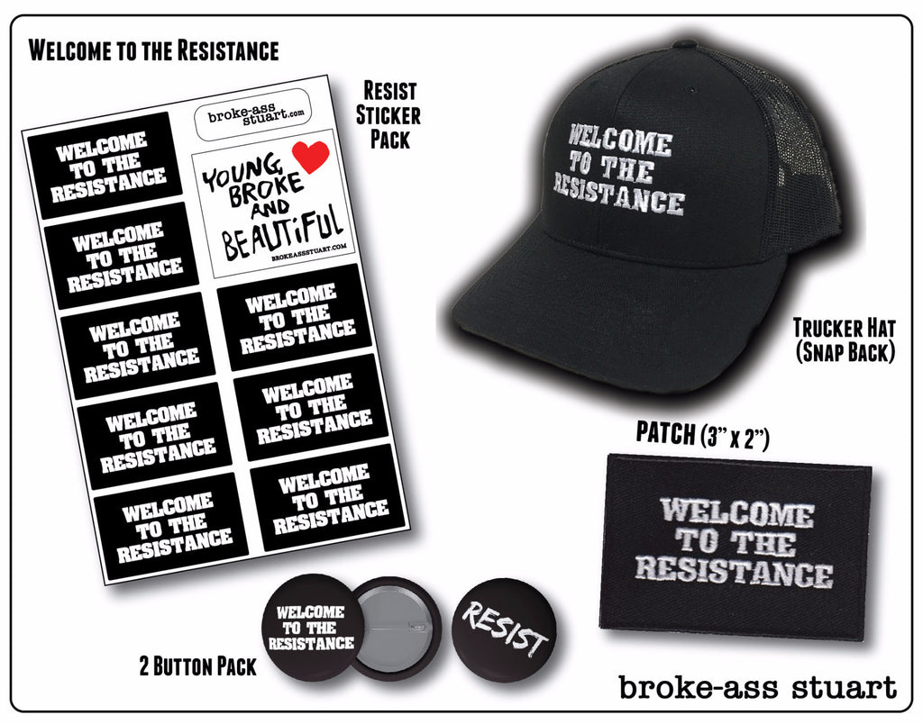 Welcome to the Resistance Variety Pack: Buttons, Stickers, Hat, and Patch