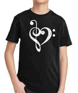 Bass Treble Clef Heart Kid's Shirt by Epicdelusion