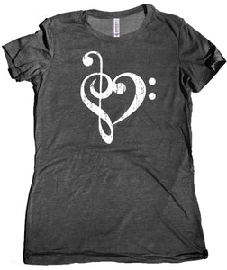 Bass Treble Clef Heart Premium Women's T-Shirt by Epicdelusion