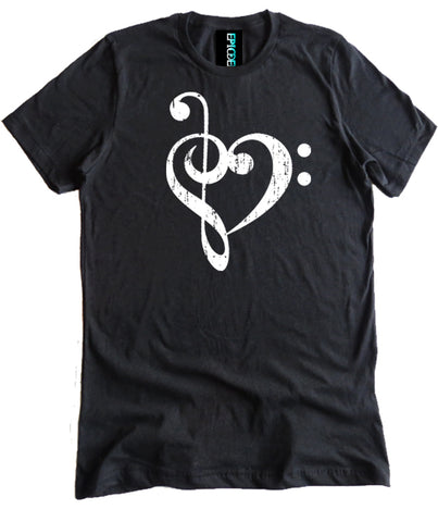 Bass Treble Clef Heart Shirt by Epicdelusion