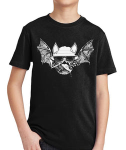 Hunter S. Thompson Psychedelic Bat Kids Shirt by Epicdelusion