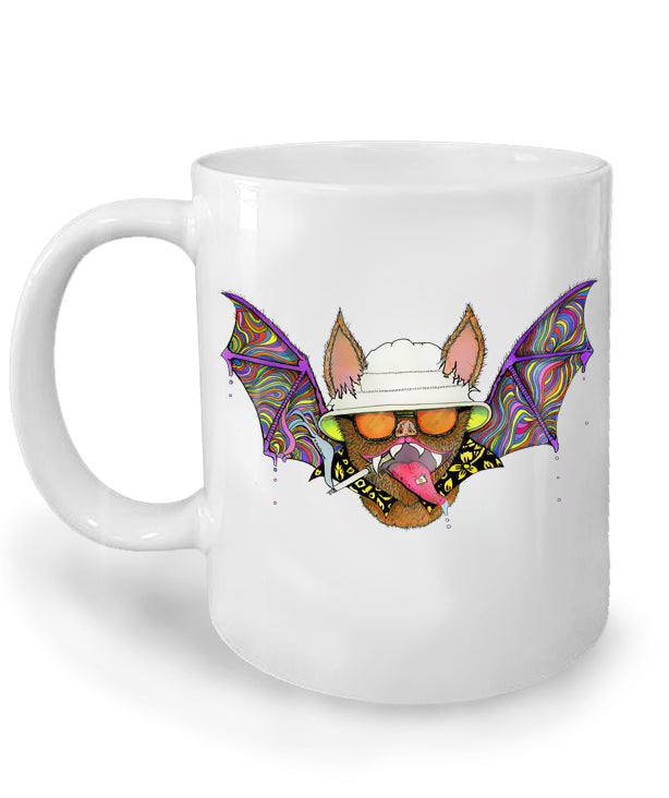 Hunter S. Thompson Psychedelic Bat Mug by Epicdelusion
