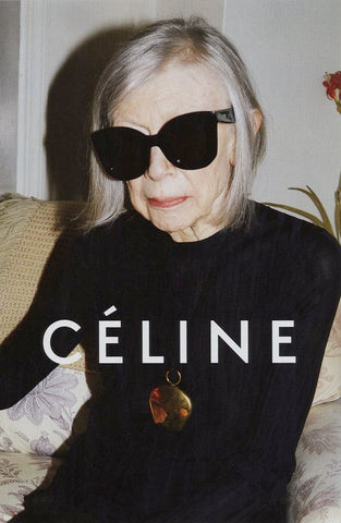Joan Didion rocking gray locks
