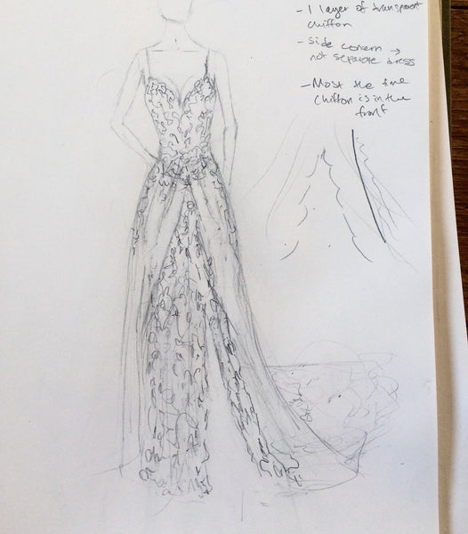 The original Evan Allison dress sketch, which was later changed to reduce layers.