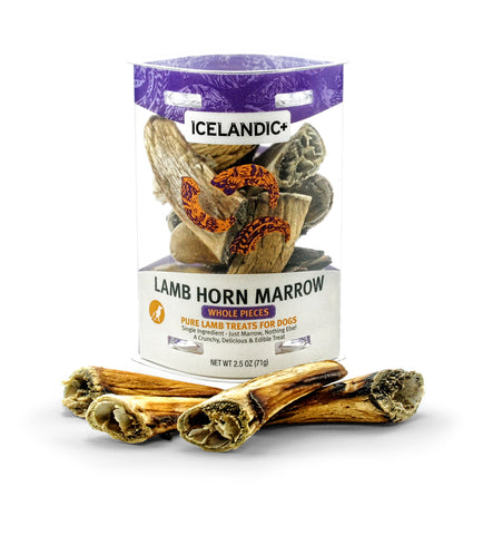 Icelandic+ Lamb Horn Marrow Whole Pieces Dog Treat 2.5-oz Tube - Icelandic+