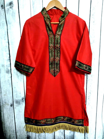 RED GARMENT W/ GREEN TRIM