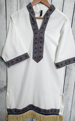 WHITE GARMENT WITH BLUE MIST TRIM