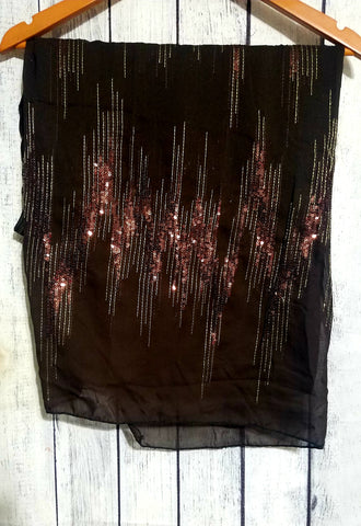 DARK BROWN SEQUENCE SCARF