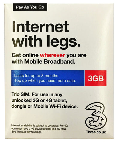 Three (3) 3G SIM Ready-to-go Mobile Broadband 3GB Preloaded Data Sim