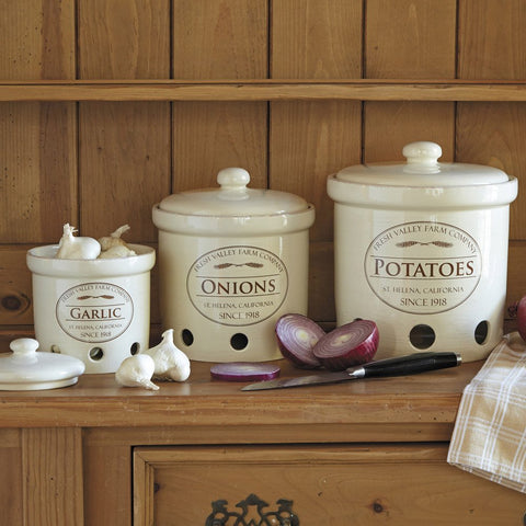 Chefs glazed stoneware fresh valley canisters set of 3 for Fresh chef kitchen