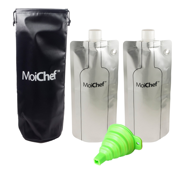 Moichef© Foldable Collapsible Flexible Wine Water Bottle -Premium Set with Collapsible Funnel