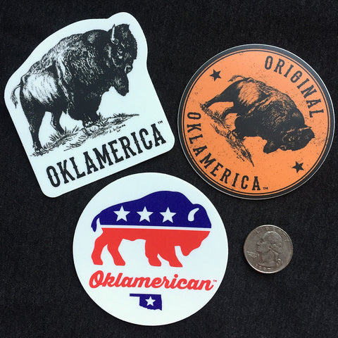 Oklamerica bison decal 3-pack