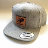 """Branded Bills"" leather patch cap - Bison logo"