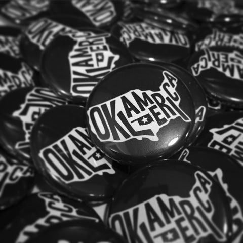 """Oklamerica"" mini-button"
