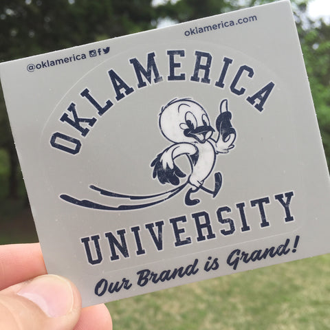 Oklamerica University mascot decal