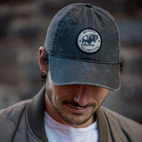 """Original Oklamerica"" bison cotton twill cap"