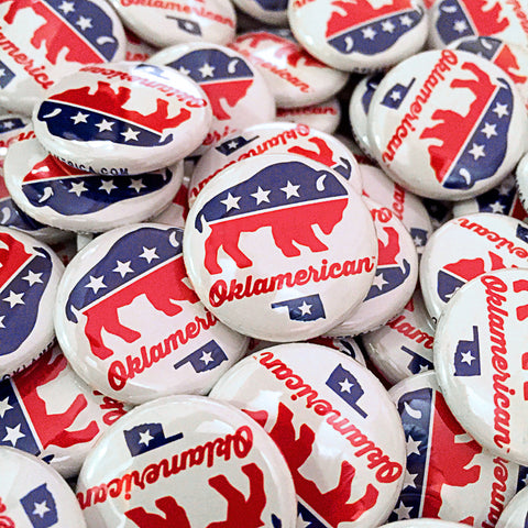 "Oklamerican ""Party"" mini-button"