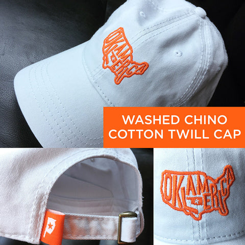 """Oklamerica"" white cotton twill cap"