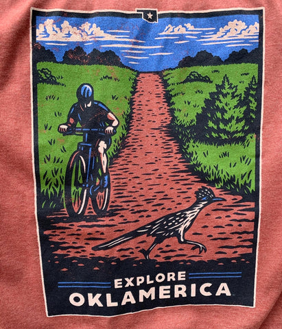 """Explore Oklamerica"" Red Dirt Roadrunner tee"