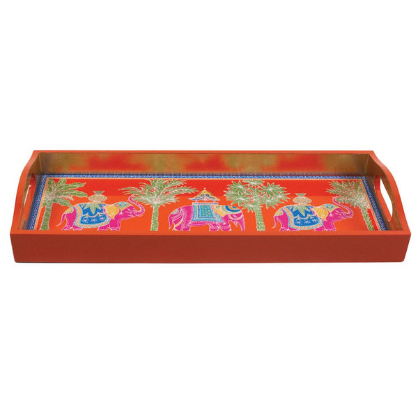 Caspari Royal Elephant Lacquer Bar Tray in Orange