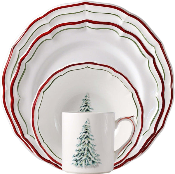 Gien Filet Noel 4 Piece Place Setting