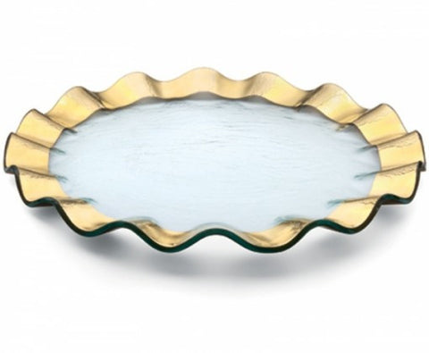 Annie Glass Ruffle Buffet Plate, Gold