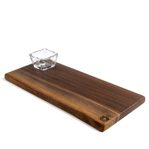 Andrew Pearce Black Walnut Live Edge Board & Glass Bowl Set