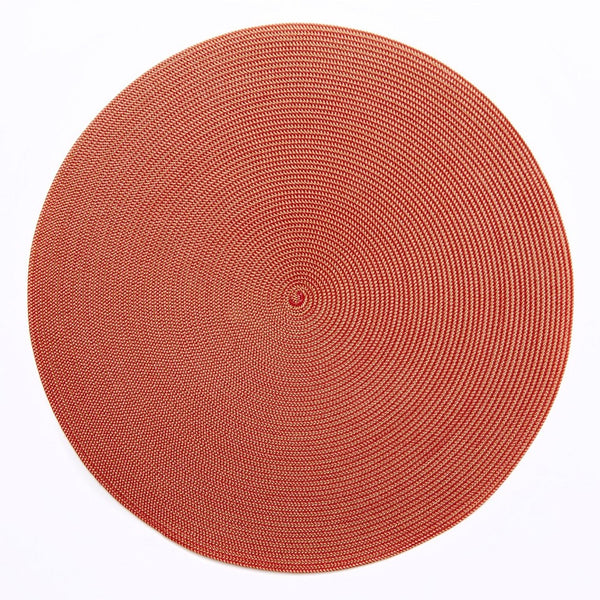 Deborah Rhodes Round Placemat, Gold/Holiday Red