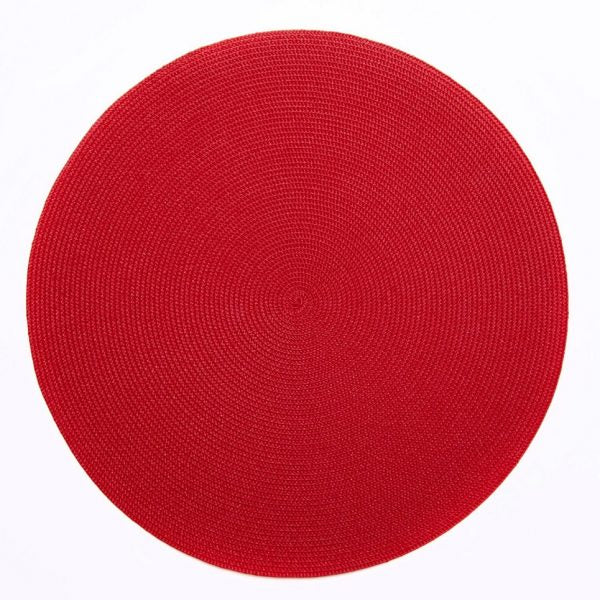 Deborah Rhodes Round Placemat, Holiday Red